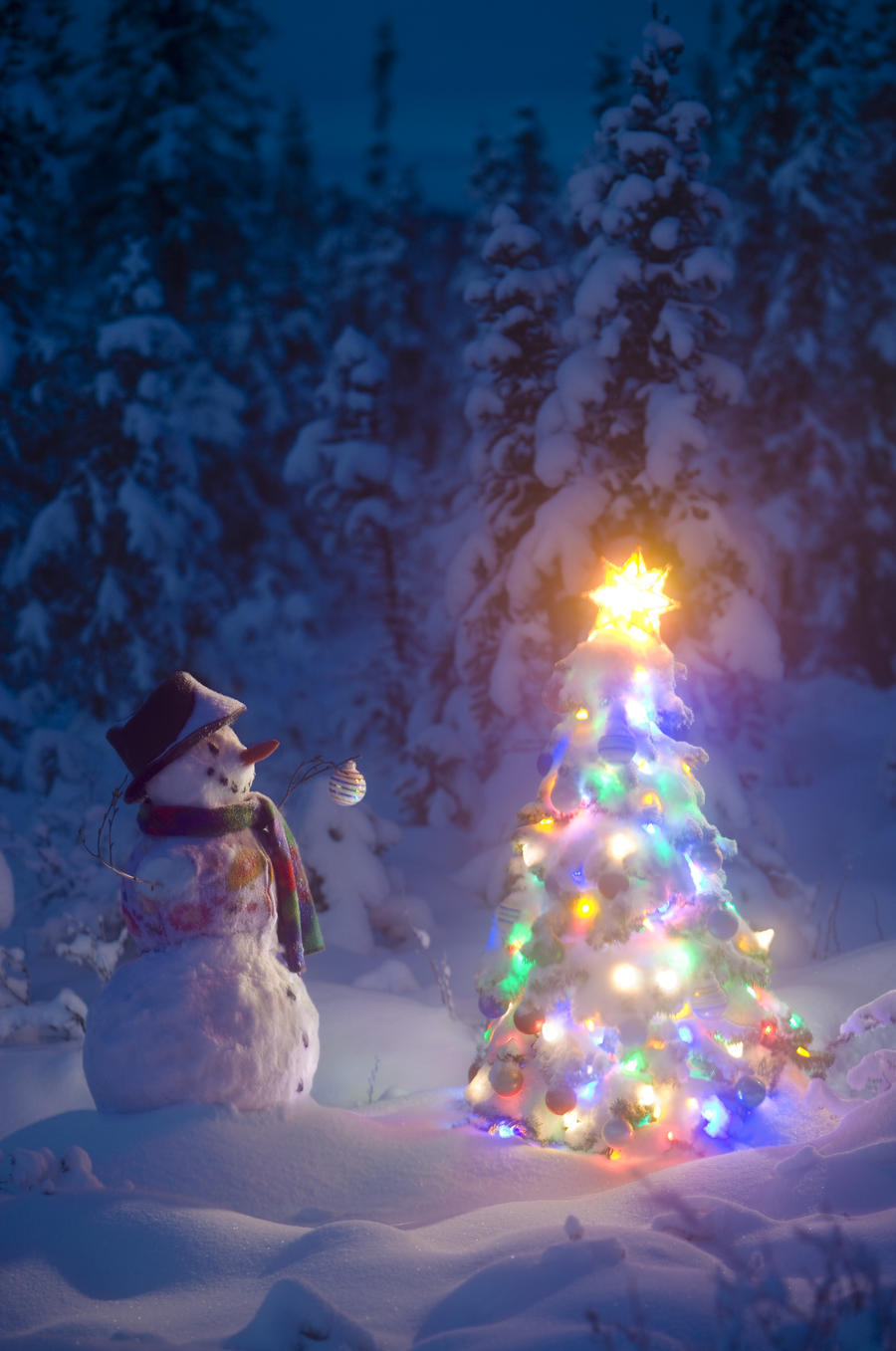 Snowman Stands In A Snowcovered Spruce Forest Next To A