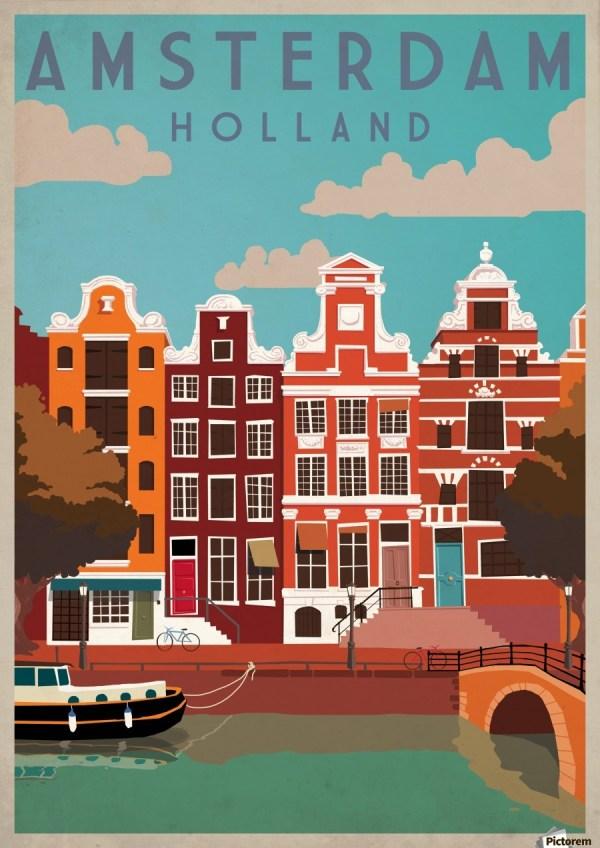 Amsterdam Travel Poster Vintage Art