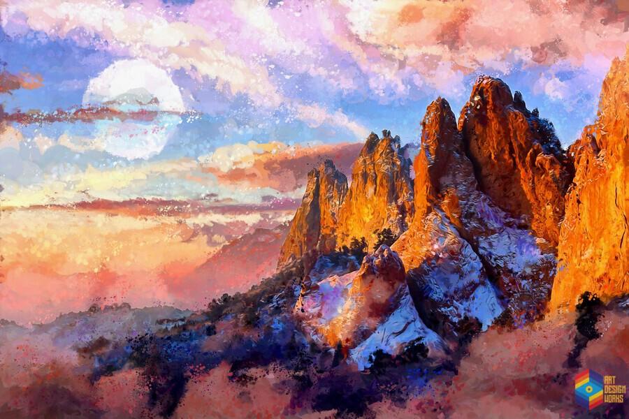 colorado mountains digital painting