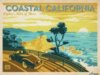 Coastal California travel poster - VINTAGE POSTER Canvas