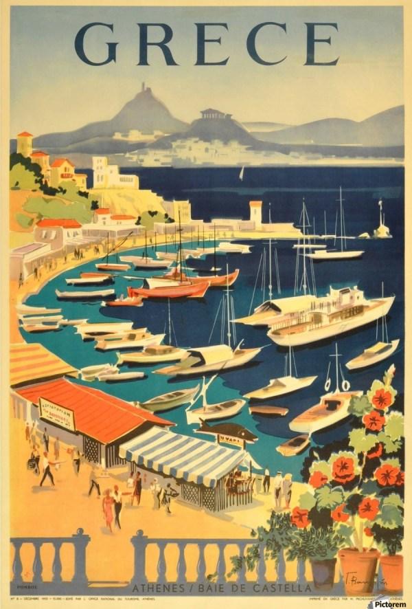 Greece Original Vintage Travel Poster - Canvas