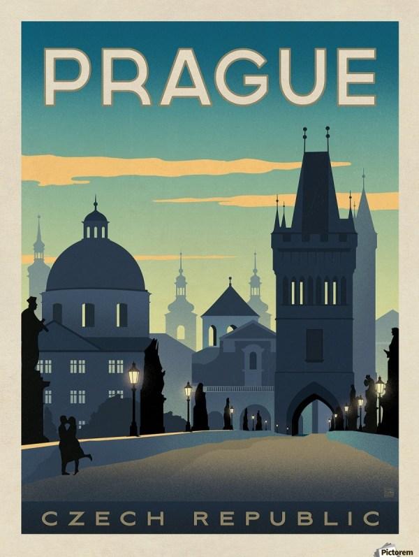 Prague Vintage Travel Poster - Canvas