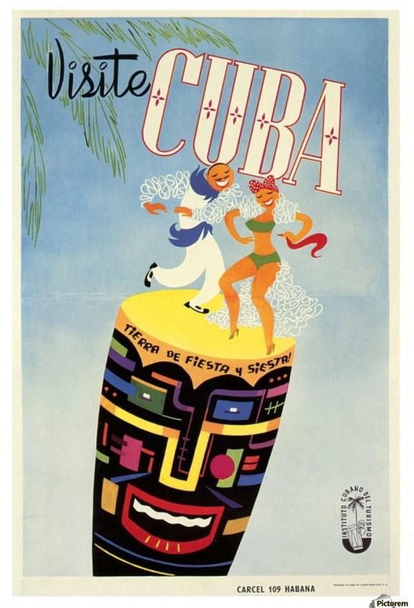 Visit Cuba Land Of Fiesta Travel Poster - Vintage