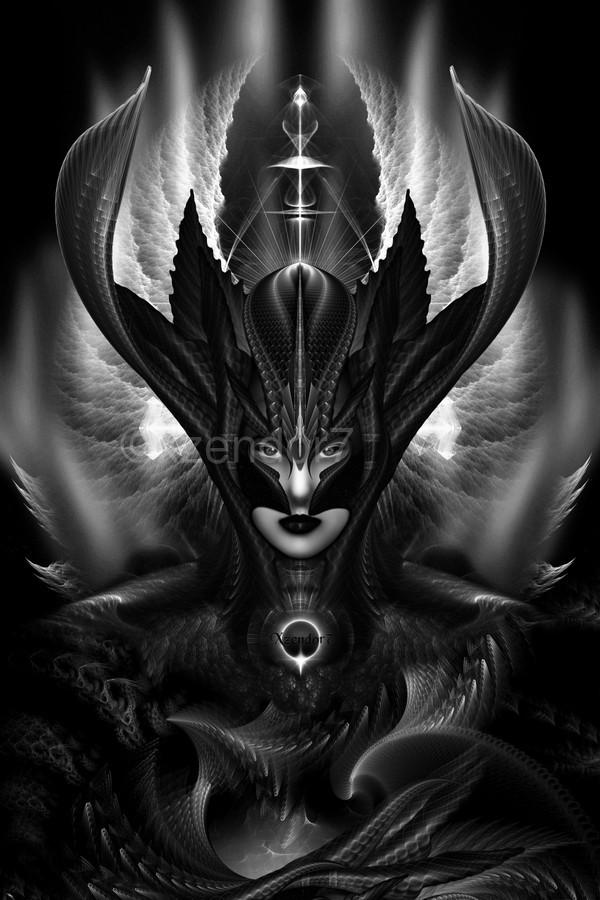 Taidushan Sai Talons Of Time Black Sun Fractal Art