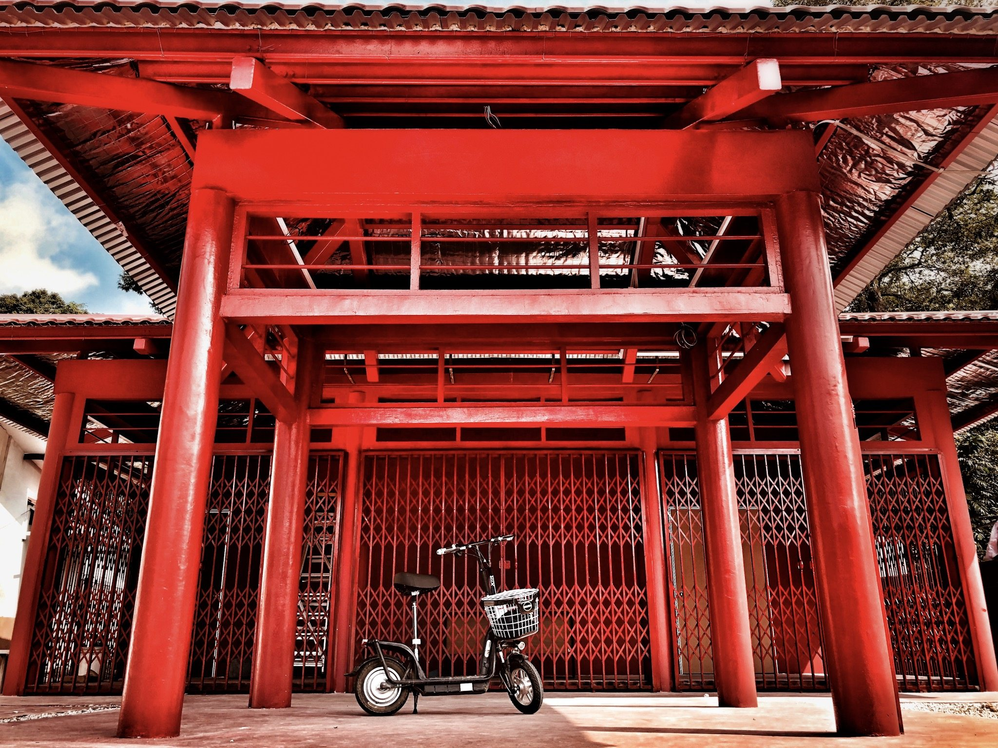 bicycle in front of a temple