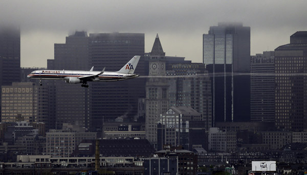 May 9, 2013 An American Airlines jet arrives at Boston's Logan airport.