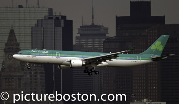 July 7, 2013 An Are Lingus Airbus-330 land at Boston's Logan airport.