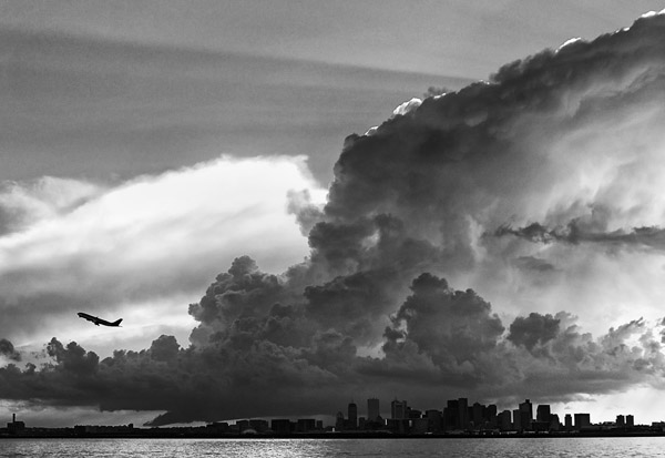 July 29, 2013 A thunderstorm approaches Boston's Logan airport.