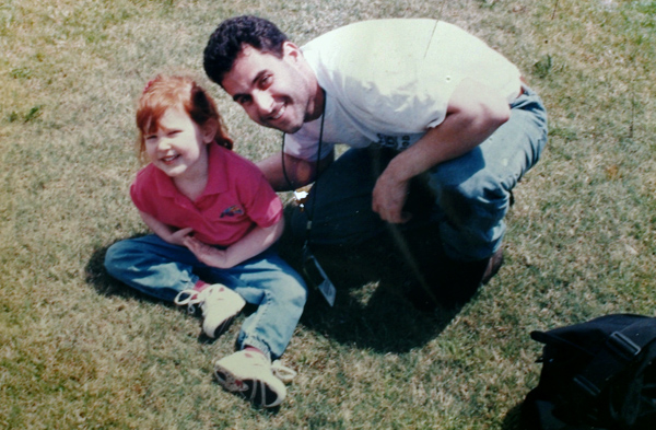 1997 photo of Rebecca Denny, then age 4 years, and me, as Peter Gelzinis, off camera, interviews Rebecca's brother Brandon, at their Oklahoma home.