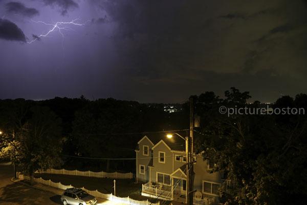 August 15, 2015. Lightning strikes over a Winthrop neighborhood.