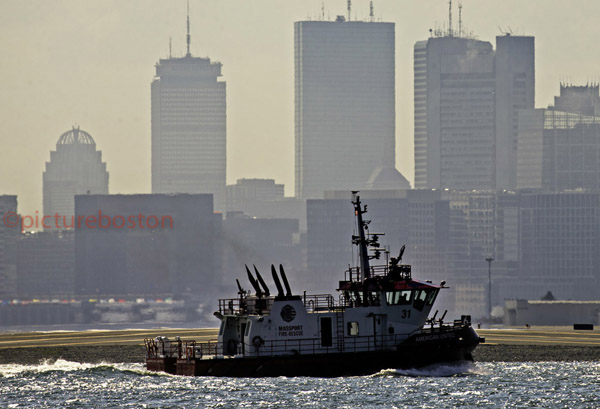 August 20, 2015.  Massport's fireboat American United in #Boston/Winthrop. Named for 2 airlines in 911 attacks.