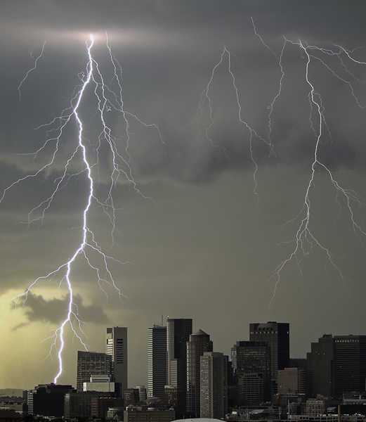 August 4, 2015-Boston,MA. Lightning strikes over Boston as a line of severe weather passes through.