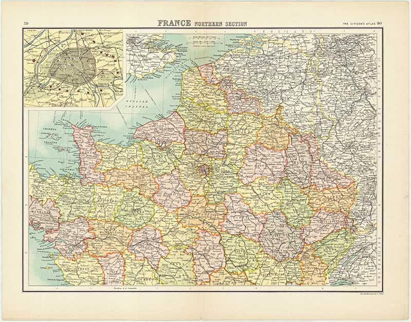 photograph regarding Printable Map of France identify Free of charge Beautiful Traditional Maps of France - Visualize Box Blue