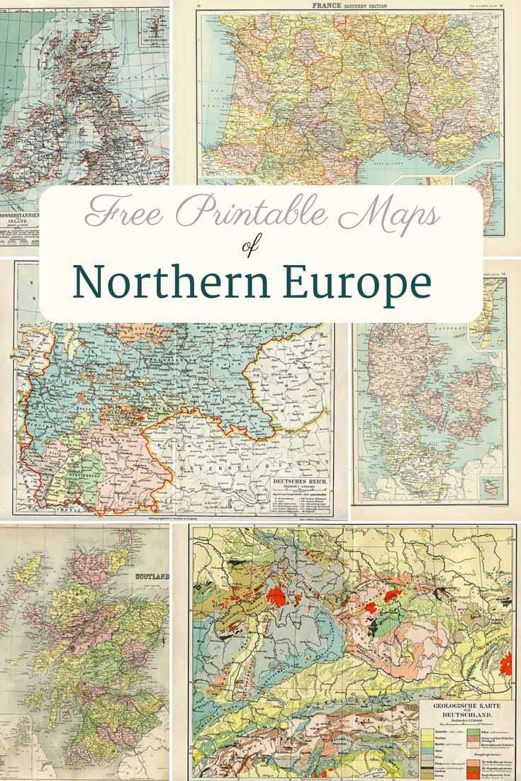photograph relating to Map of Europe Printable named Cost-free Printable Previous Maps Of Europe (Northern) - Envision Box Blue