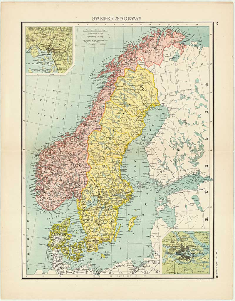 photograph about Scandinavia Map Printable known as No cost Printable Aged Maps Of Europe (Northern) - Envision Box Blue