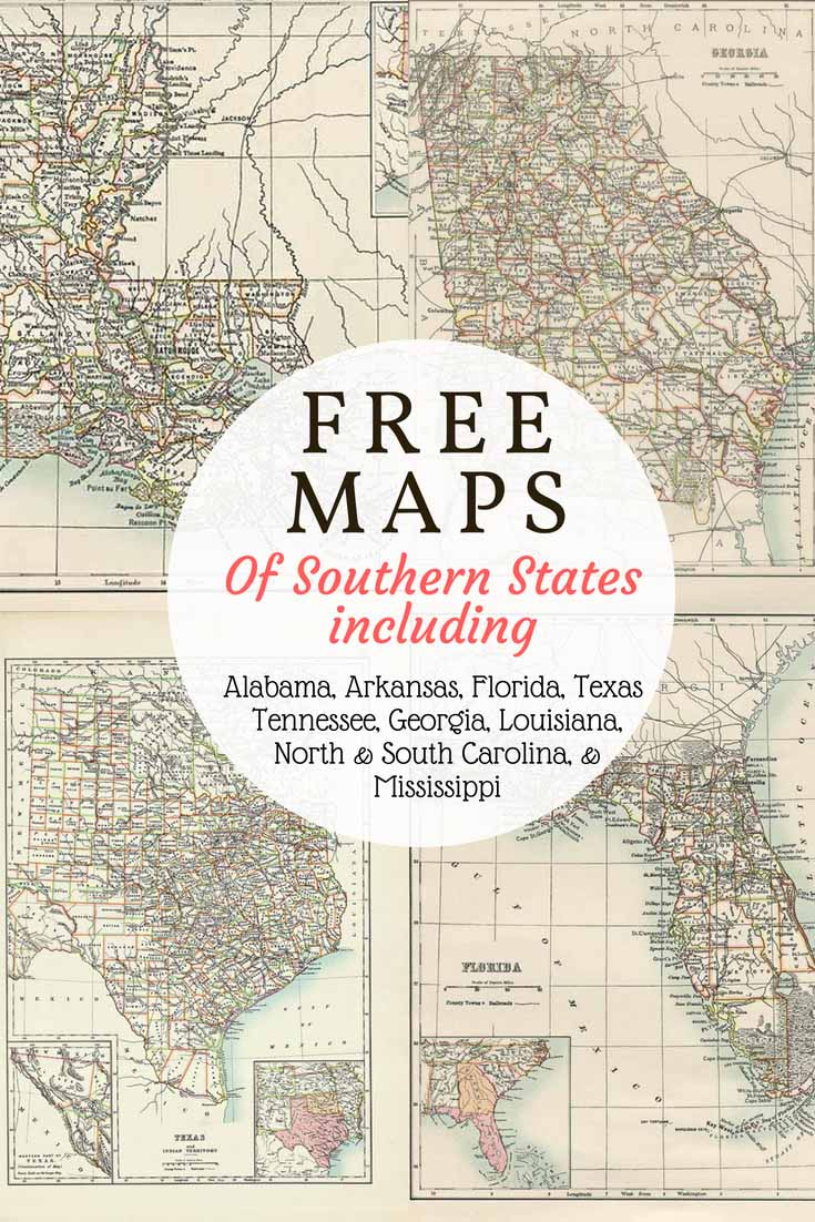image about Printable Maps of South Carolina known as Absolutely free outdated map of Texas and 9 other Southern Says - Consider