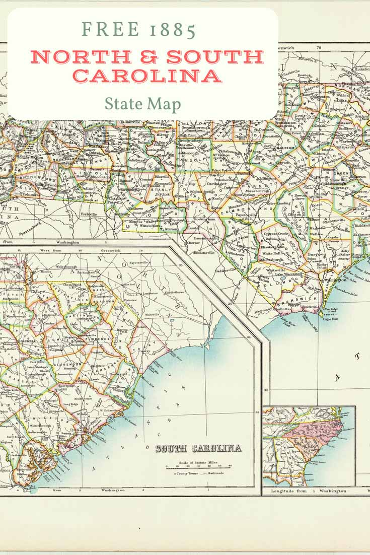 FREE download old map North and South Carolina