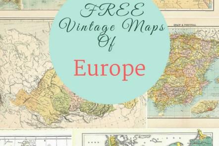 FREE vintage maps of Europe pin
