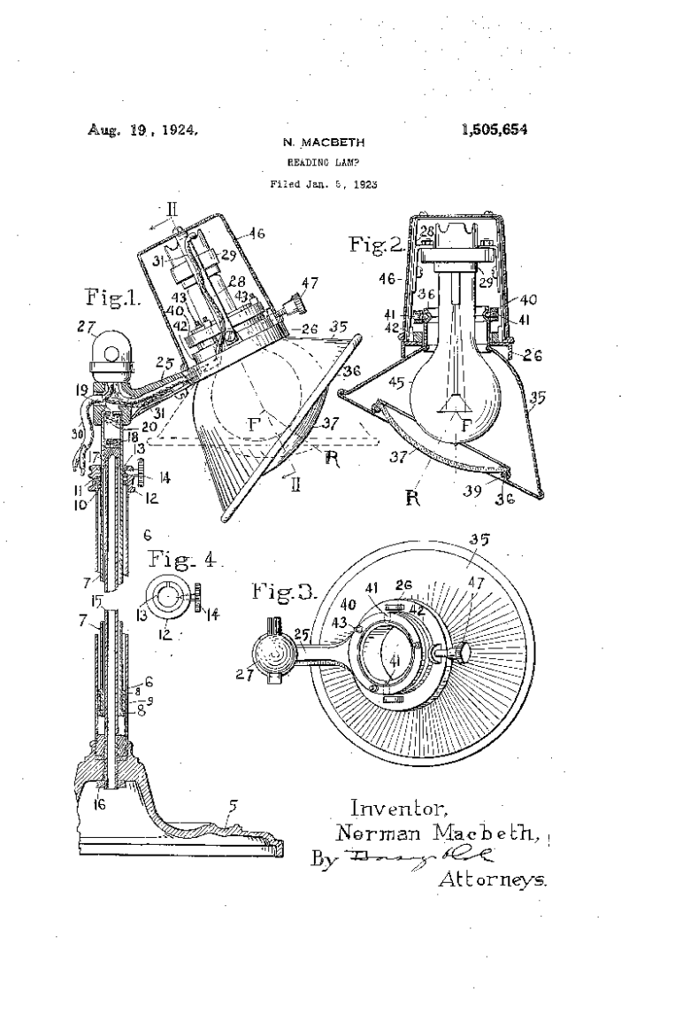 Reading lamp patent 1923
