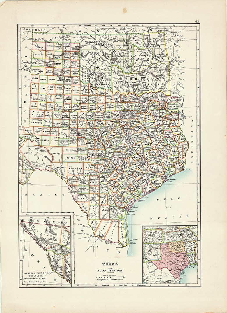 Old map of Texas state 1885