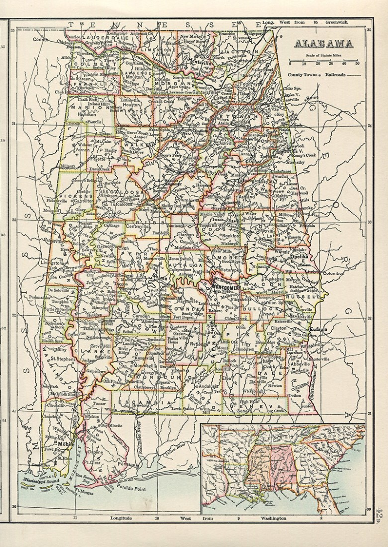 Old Map of Alabama State 1885