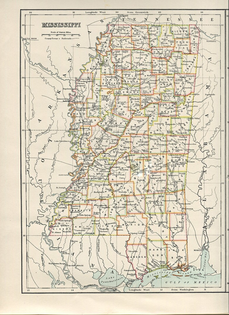 Old Map of Mississippi USA