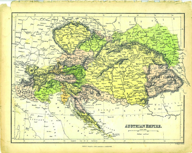 Vintage Map of Austrian Empire - George Philip and Son s