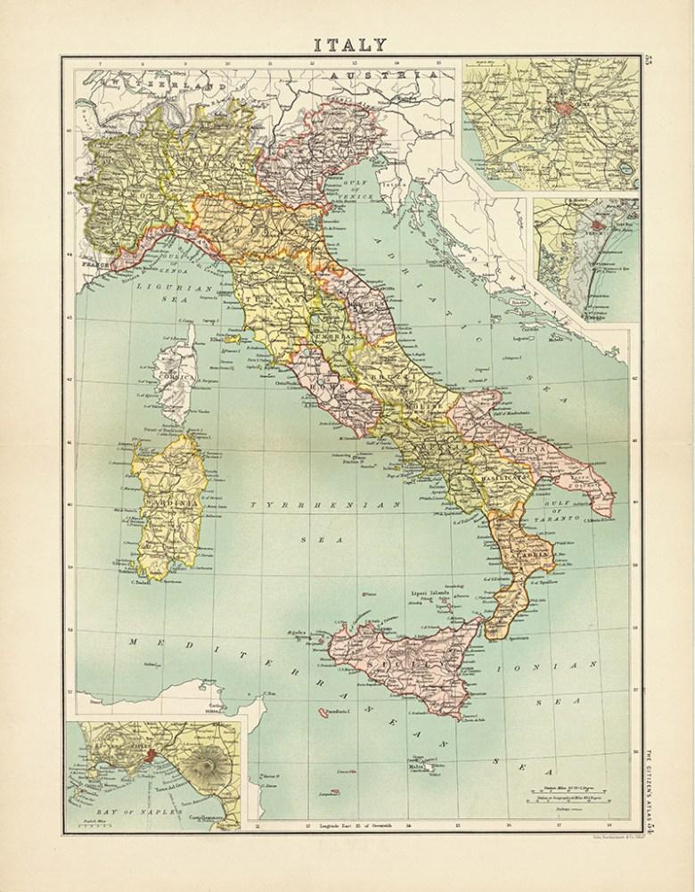 Vintage Map of Italy Citizen Atlas