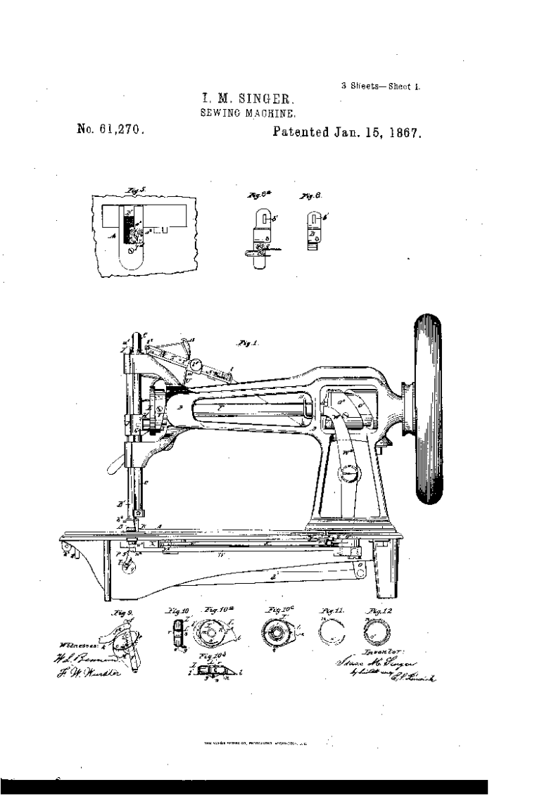 Patent of singer sewing machine 1867