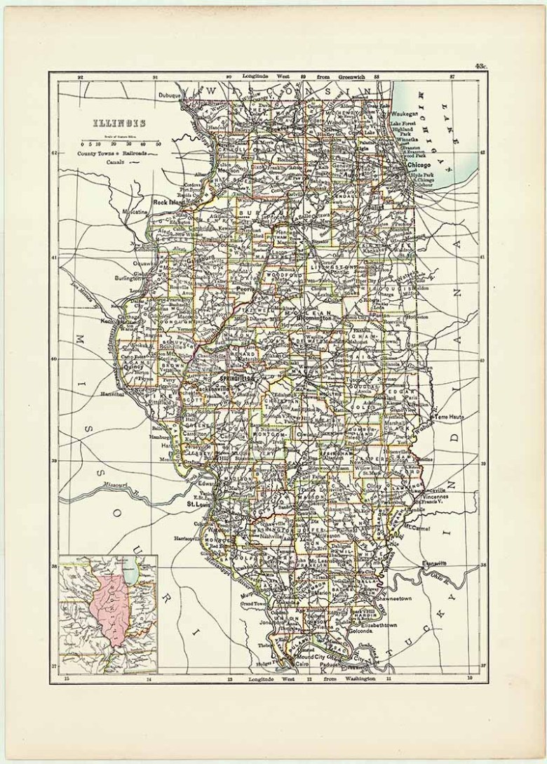 Antique US State map of Illinois