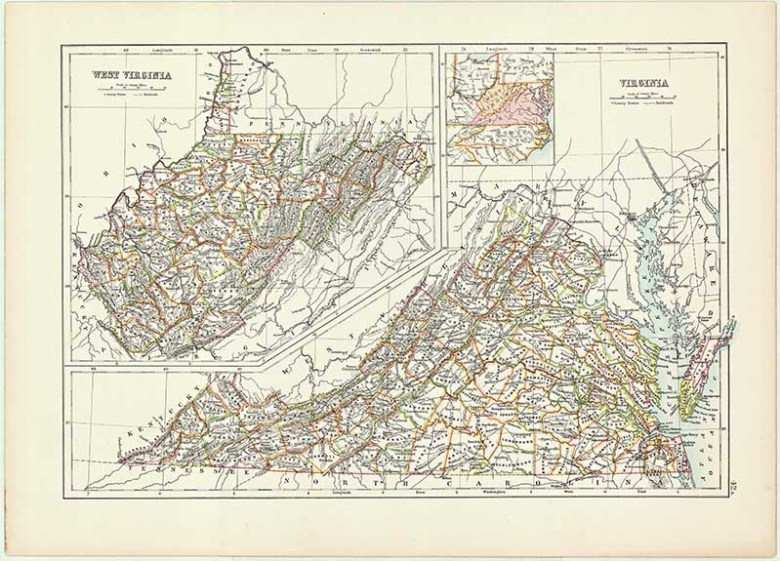 Old US State Map of Virginia