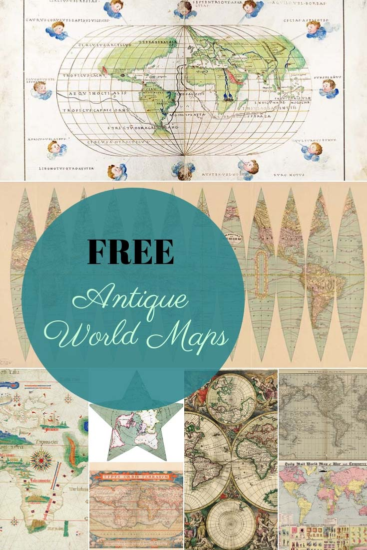 picture regarding World Maps Printable titled 9 Superb Absolutely free Antique Globe Maps In direction of Obtain - Visualize