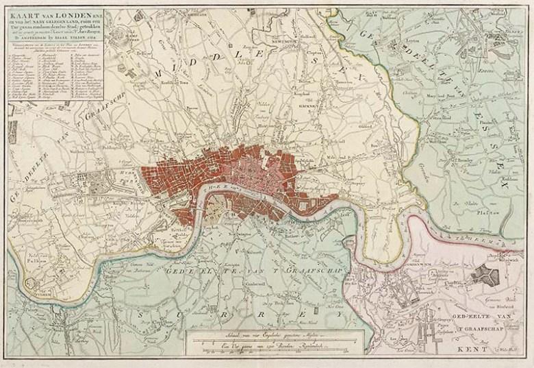 1754 vintage london map