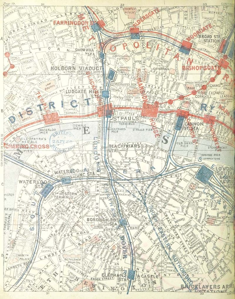 1888 vintage london map covering the city