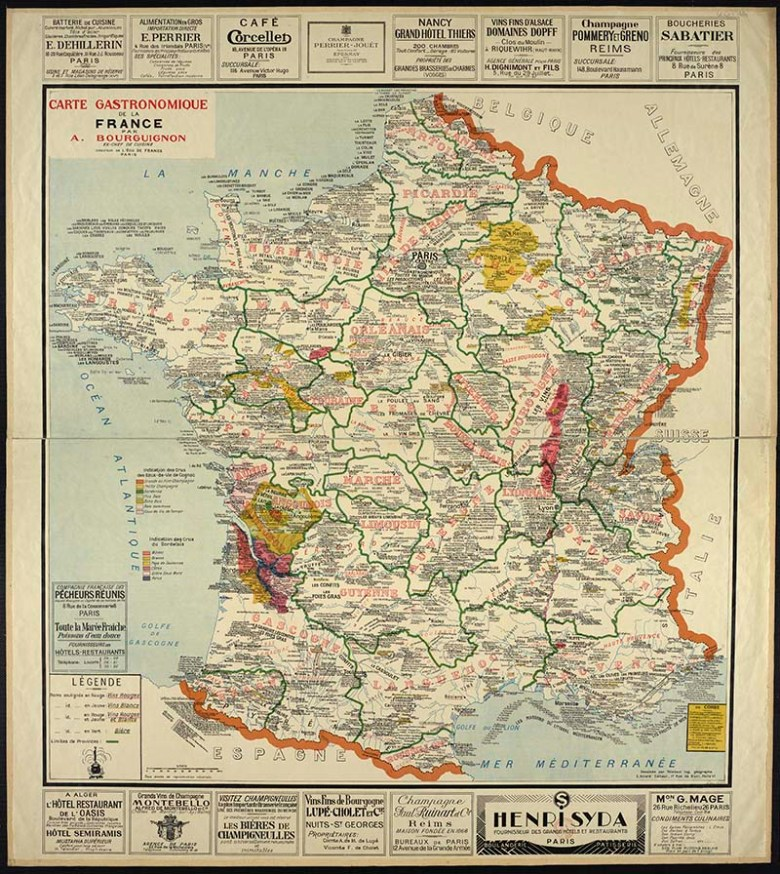 Gastronomic map of France 1929