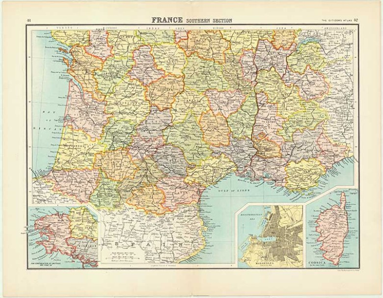 Vintage maps of France - Southern France