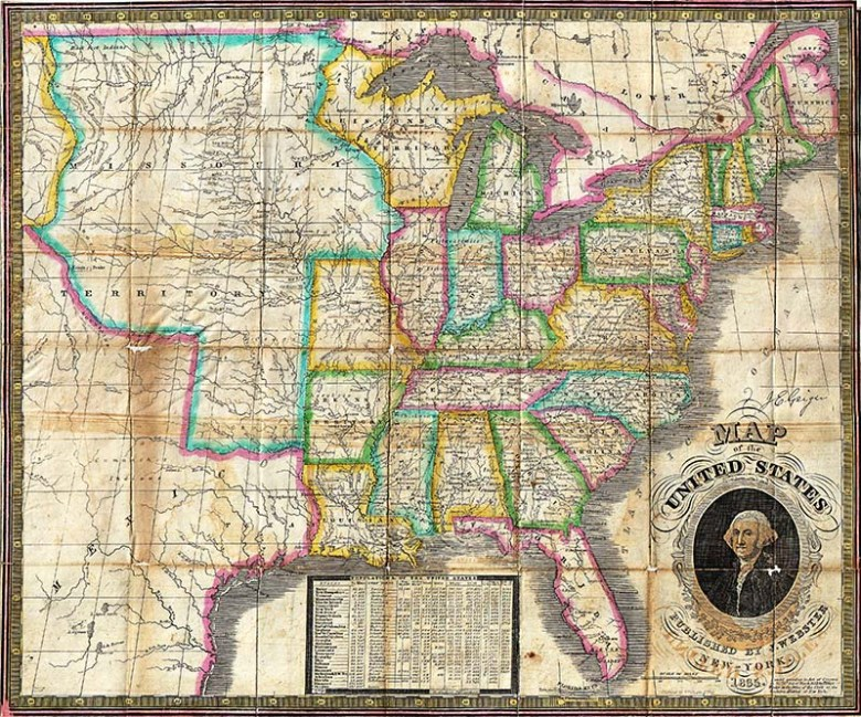 Websters 1835 Map of USA