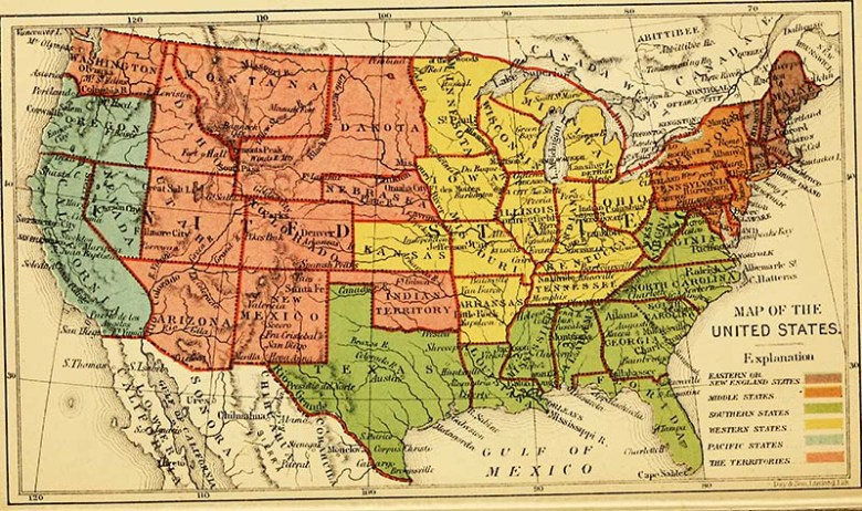 Wonderful Vintage Maps Of The United States Copyright Free Picture - Us-map-1864