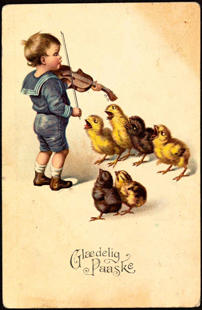 Boy playing violin to chicks_1922