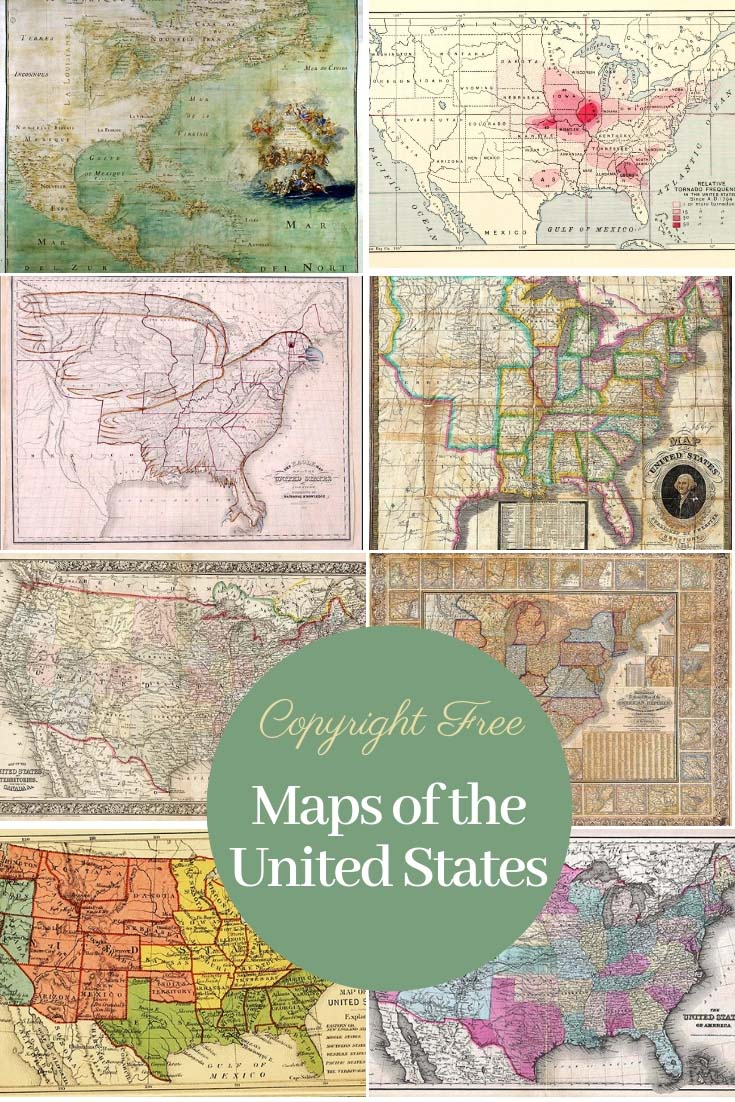 Antique copyright free maps of the United States of America to download