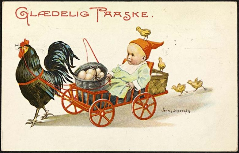 Chicken pulling cart of eggs easter postcard