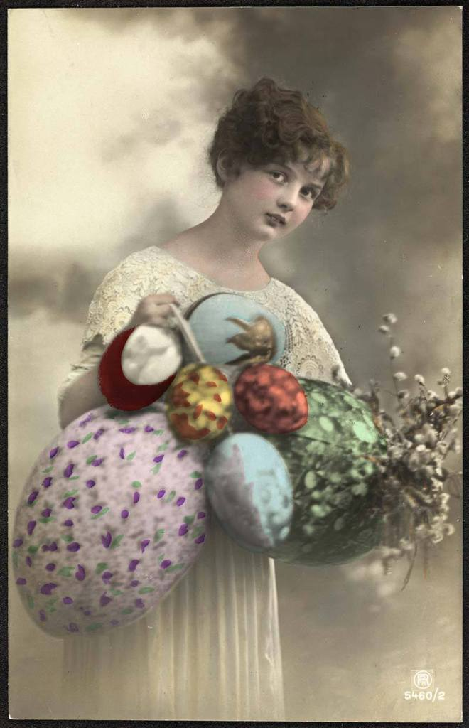 Woman with bouquet of eggs
