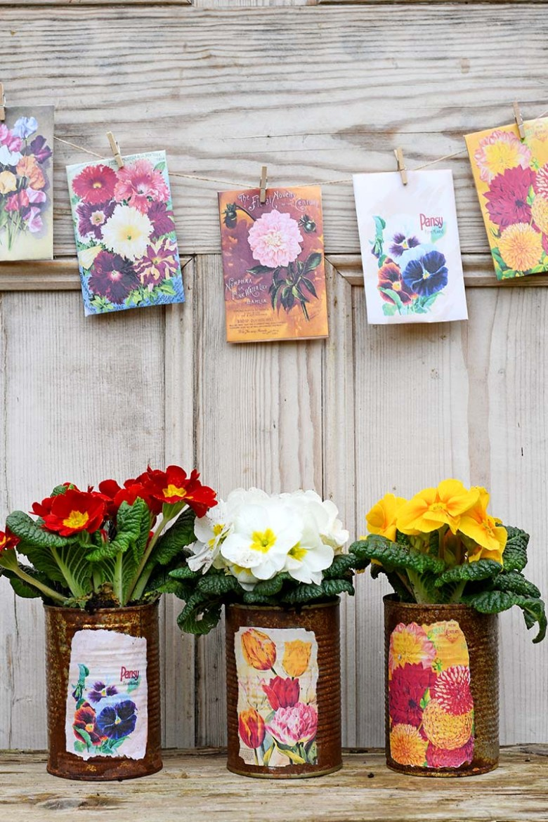 seed packet planters and bunting