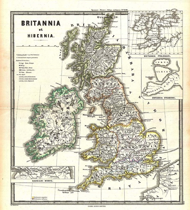 Map of Britannia and Hibernia (Britain and Ireland).