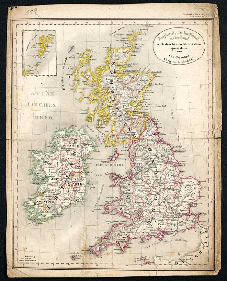 Map of England Scotland Wales and Ireland 1856