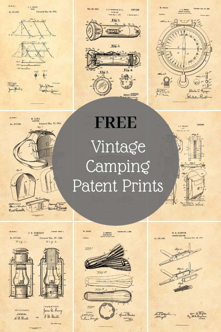 10 Camping and Scout patent prints