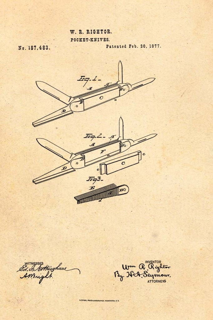 Pen Knife Patent 1877