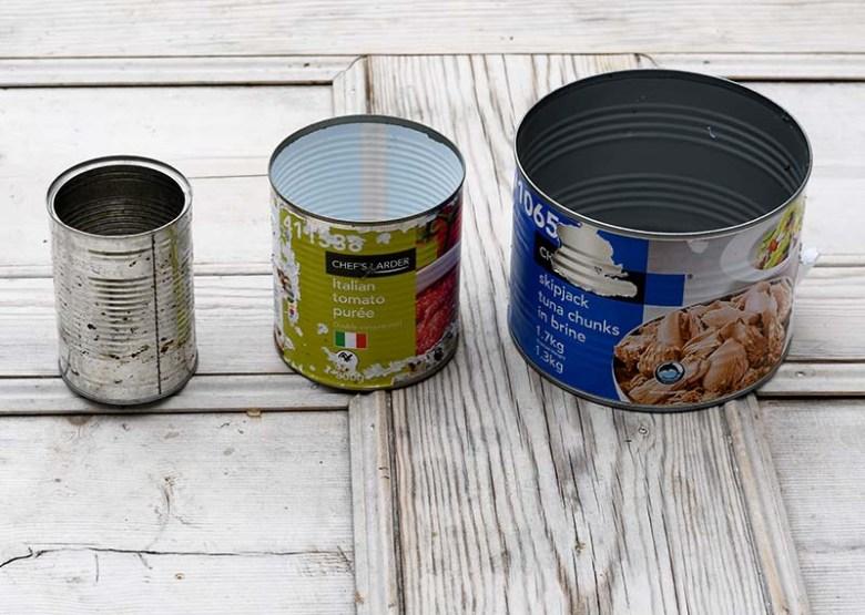 Assortment of tin cans