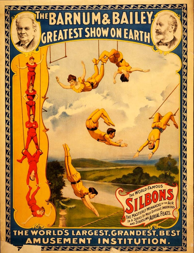 Barnum & Bailey Trapeze vintage circus poster