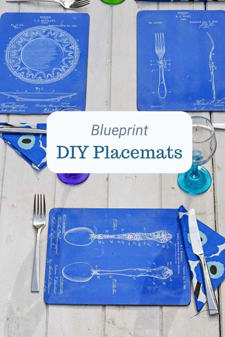 Vintage blueprint DIY placemat